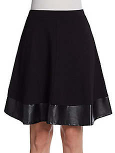Saks Fifth Avenue BLACK Vegan-Leather Trimmed Skirt