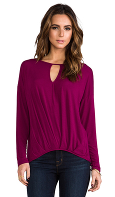 Michael Stars Long Sleeve Keyhole Top in Wine