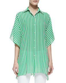 Michael Kors Striped Kimono Blouse, Palm/White