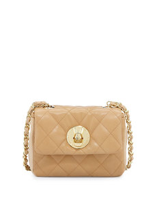 Moschino Borsa Quilted Faux-Leather Crossbody Bag, Beige/Natural