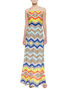 Chevron-Print Halter Maxi Dress   Chevron-Print Halter Maxi Dress