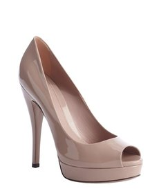 Gucci taupe leather peep toe platform pumps