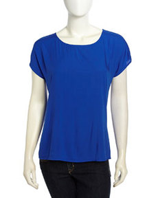 Max Studio Cap-Sleeve Back Buttoned Top, International Blue