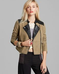 Free People Jacket - Washed Linen and Faux Leather Pieced