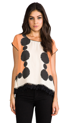 Anna Sui Mod Dots Lace Blouse in Coral