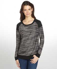 Three Dots black marled knit raglan sleeve sweatshirt