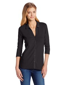 Three Dots Red Women's 3/4 Sleeve V-Neck Button Down Shirt