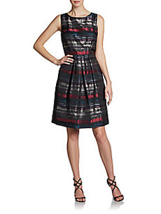 Carmen Marc Valvo Abstract-Print Taffeta Dress
