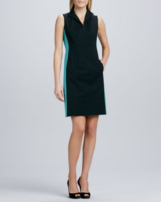 Lafayette 148 New York Ashton Zip-Front Colorblock Dress
