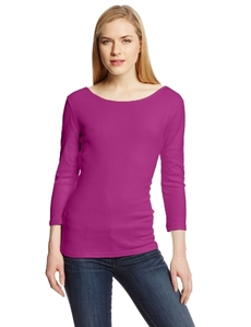 Three Dots Red Women's 3/4 Sleeve Reversible Tee Shirt