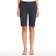 Polka Dot Stretch Cotton Bermuda Shorts (Plus)