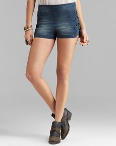 Free People Shorts - High Rise Lace Up