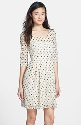 Betsey Johnson Lace Dot Fit & Flare Dress