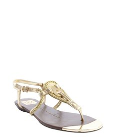 DV by Dolce Vita gold metallic faux leather knot detail 'Anica' sandals