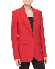 Michael Kors Wool One-Button Blazer, Crimson