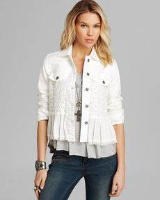 Free People Jacket - Denim and Lace Mix