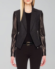 Michael Kors Leather-Sleeve Blazer