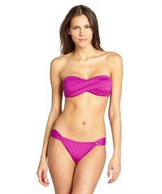 Shoshanna purple nylon hoop side hipster bikini bottoms