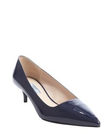 Prada royal blue patent leather point toe kitten heel pumps