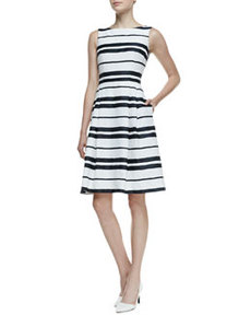 Sleeveless Striped Pleated-Skirt Dress   Sleeveless Striped Pleated-Skirt Dress