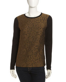 Isda & Co Lace-Front Long-Sleeve Tee