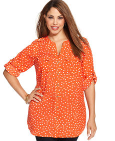 Charter Club Plus Size Polka-Dot Utility Tunic