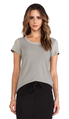 James Perse Stripe Scoop Neck Boy Tee in Gray