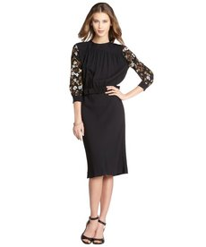 Miu Miu black sequined crepe long sleeve cutout back dress
