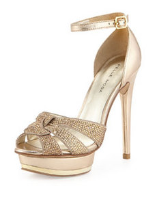 Pelle Moda Ava Jeweled Metallic Leather and Suede Peep Toe Sandal, Platinum Gold