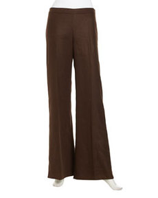 Lafayette 148 New York Side-Zip Wide-Leg Linen Pants, Espresso