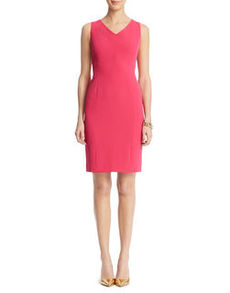 V-Neck Seamed Sheath Dress