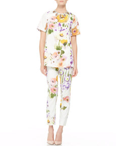Lela Rose Slim Floral Ankle Pants