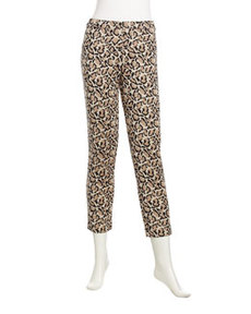 Joan Vass Leopard-Print Cropped Knit Pants