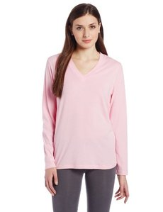 Hue Sleepwear Women's Long Sleeve Basic V Neck Pajama Top