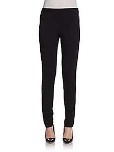 Saks Fifth Avenue BLACK Faux-Leather Paneled Leggings