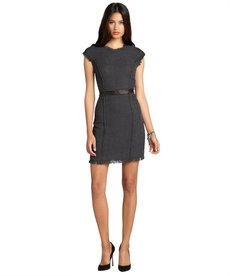 Rebecca Taylor charcoal tweed leather trimmed fringed work shift