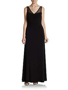 Calvin Klein Sheer Paneled & Textured Gown