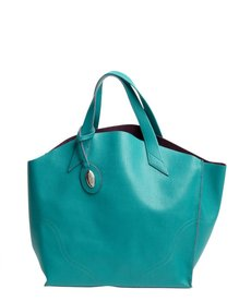 Furla pavone blue leather 'Jucca' shopper tote