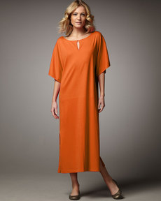 Joan Vass Keyhole-Detail Long Dolman Dress, Petite