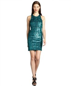 Andrew Marc dark emerald sequin dress