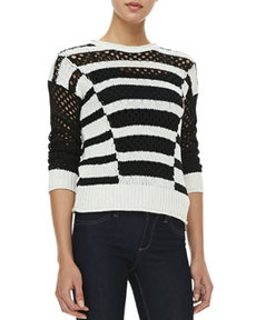Rebecca Taylor Intarsia Long-Sleeve Striped Knit Pullover