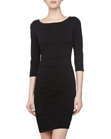 James Perse Asymmetric Bateau-Neck Dress, Black