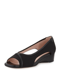 Taryn Rose Katy Peep-Toe Stretch Wedge, Black
