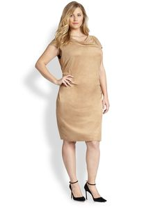 Kay Unger, Sizes 14-24 Sueded Ruched Dress