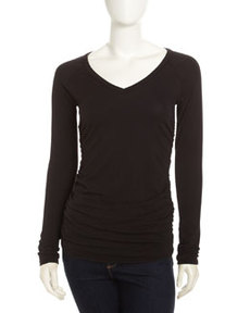 James Perse Ruched-Detail Long Sleeve Tee