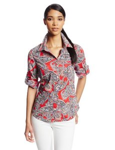 Jones New York Women's Paisley Print Fitted Roll Elbow Sleeve Shirt