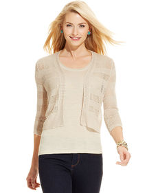 Charter Club Petite Three-Quarter-Sleeve Linen Open-Knit Bolero