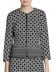 Saks Fifth Avenue BLACK Printed Zip-Front Jacket