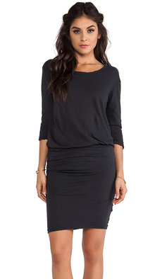 James Perse Crepe Jersey Dress in Charcoal