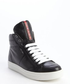Prada black leather zipper detail high top sneakers
